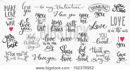 Romantic lettering set. Calligraphy postcard or poster graphic design typography element. Hand written vector style happy valentines day sign. Love in the air You make me happy Together forever