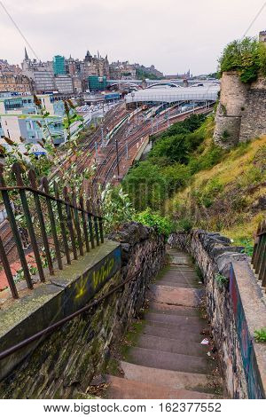 Aerial View Over Edinburgh From Steep Stairs