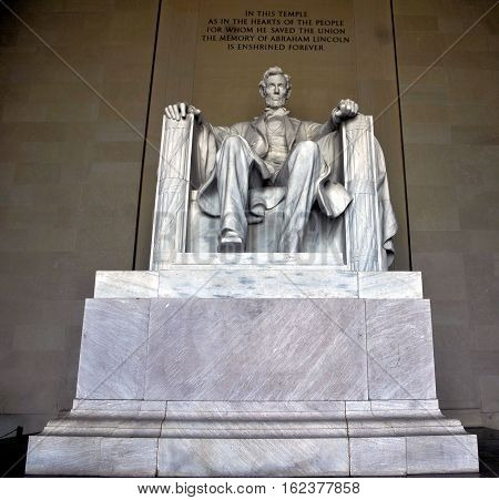 Statue of President Abraham Lincoln at the Lincoln Memorial in Washington, DC