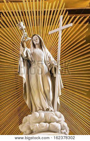 GUANAJUATO, MEXICO - JANUARY 1, 2015 Blind Angel Cross Basilica Altar Our Lady of Guanajuato Mexico. Basilica de Nusetra Senora