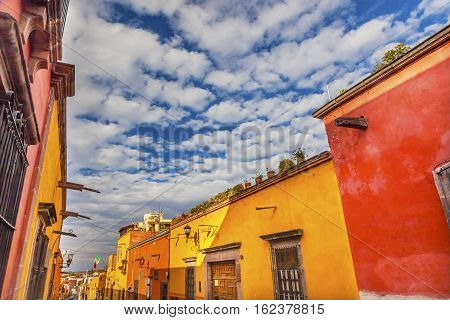 Yellow Orange Street Blue Sky San Miguel de Allende Mexico.