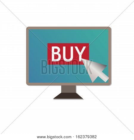 shopping on pc on white background.buy on pc sign.