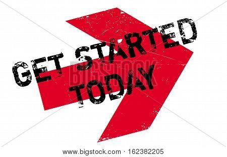 Get started today stamp. Grunge design with dust scratches. Effects can be easily removed for a clean, crisp look. Color is easily changed.