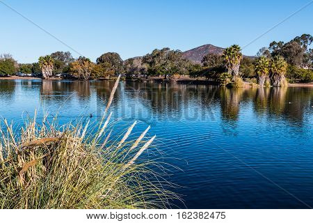 Lake Murray with Cowles mountain in San Diego, California.