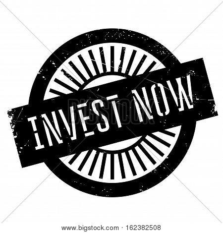 Invest now stamp. Grunge design with dust scratches. Effects can be easily removed for a clean, crisp look. Color is easily changed.