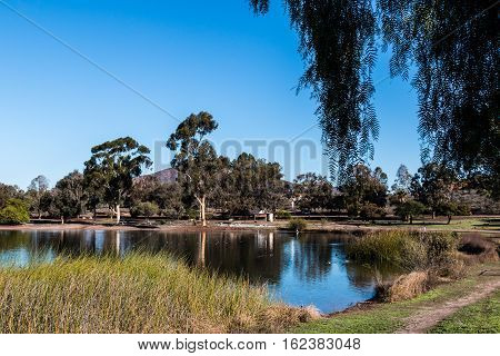 Mission Trails Regional Park with Lake Murray in San Diego, California.