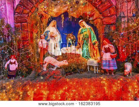 SAN MIGUEL DE ALLENDE, MEXICO - DECEMBER 28, 2014 Basilica Christmas Creche Convent Immaculate Conception The Nuns San Miguel de Allende Mexico. Convent of Immaculate Conception was created in 1754.