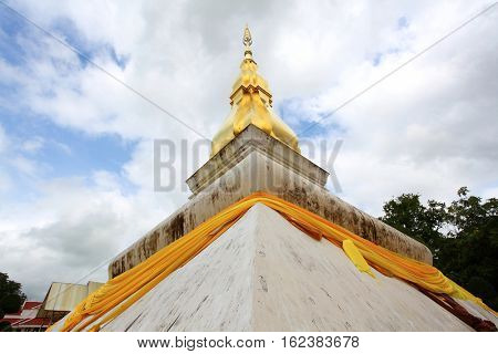 Thai Pagoda Chedi over blue sky
