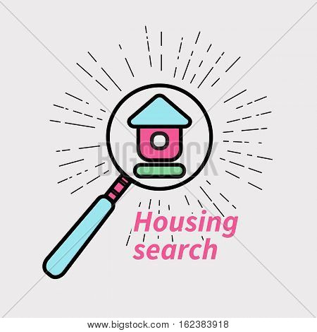 Vector logo icon real estate agents. House under magnifying glass.