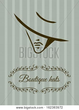 Ellegant label hat boutique. Logo of head face beautiful women. Vector outline. Icon of glamour fashion beauty