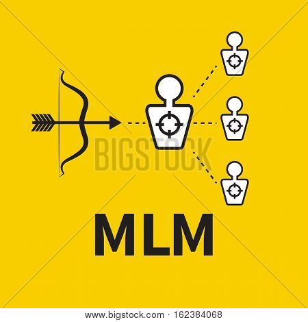 Scheme of multilevel marketing. Icon MLM. Vector bow and target audience. Llogo of information transfer.