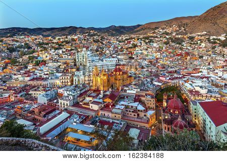 Red Dome Templo San Diego San Diego Church Jardin Town Square Juarez Theater Guanajuato Mexico From Le Pipila Overlook