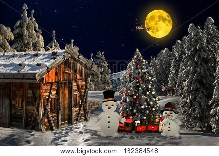 Christmas beautiful picture. fir. snow. Merry Christmas! 25th December. happy Holidays
