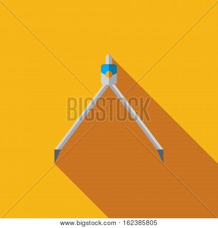 Vector icon or illustration showing building project with measuring caliper compasses in flat design style with long shadow