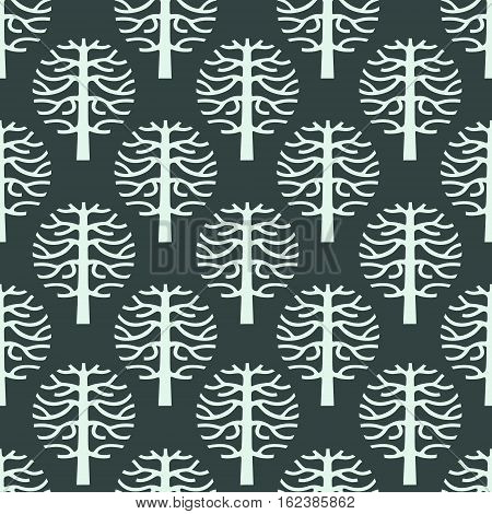 original seamless pattern with vector tree silhouette