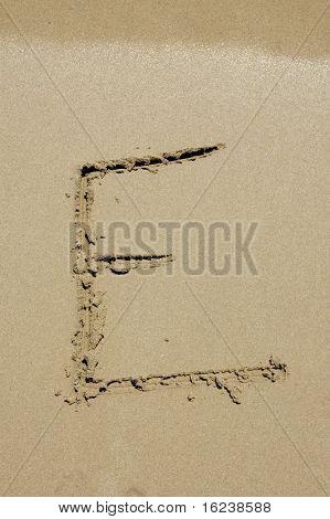 E in the sand