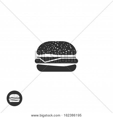 Hamburger icon vector isolated on white background, flat style burger pictogram symbol, black and white monochrome sign