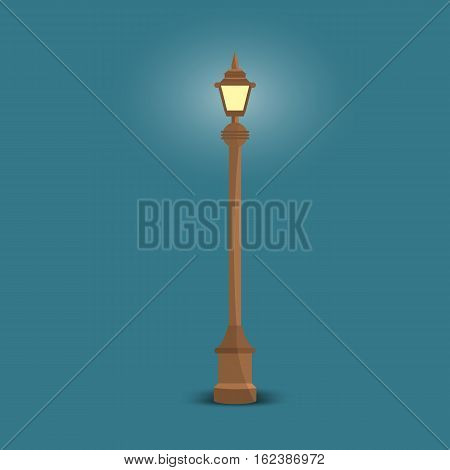 Vector Streetlight with flat color style design. Isolated vector