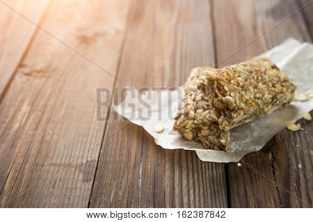 Natural bars on wooden table
