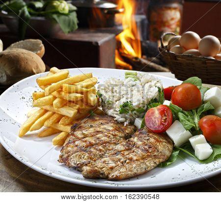 steak grilled chicken
