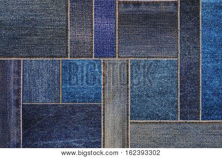 Denim jeans texture background, patchwork denim jean fabric pattern