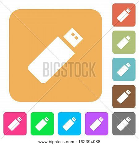 Pendrive icons on rounded square vivid color backgrounds.