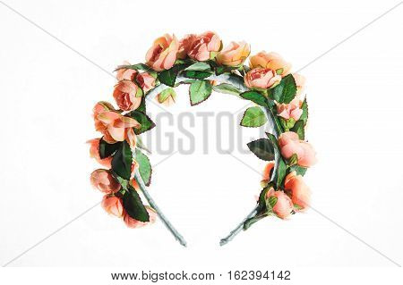 beautiful floral rim on the head white background