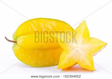 ripe star fruit carambola or star apple ( starfruit ) on white background healthy star fruit food isolated