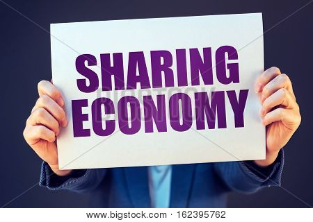 Sharing economy concept social and economic activity involving online transactions