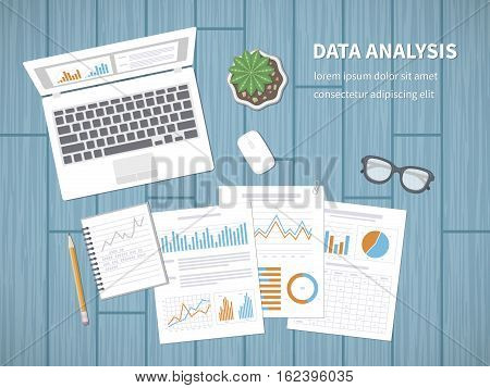 Data analysis concept. Accounting, analytics, analysis, report, research, planning. Financial Audit, SEO analytics, statistics, strategic, report, management Charts graphics on a screen and documents