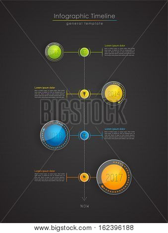 Colorful Infographic typographic timeline report template - dark vertical version.