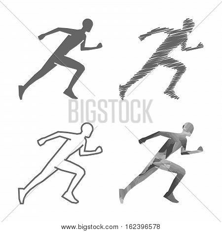 Black line runner figure on white background. Running symbol and logo.