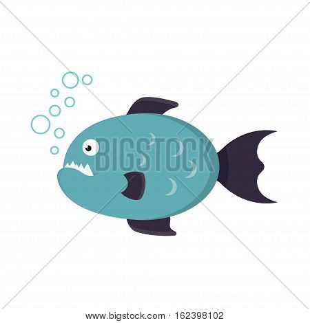 toothy piranha fish on a white background, in a flat style, vector illustration