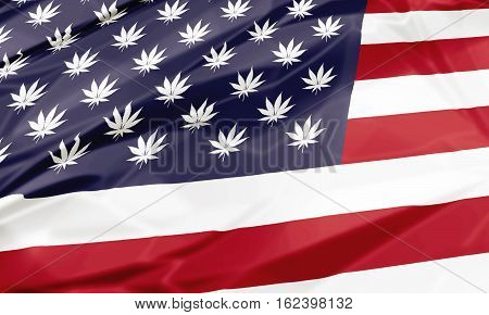 The national flag of United States with Marijuana leafs as stars, closeup illustration. American cannabis legalization concept.