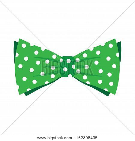 Elegant green bow tie with white polka dots on an isolated white background. vector illustration