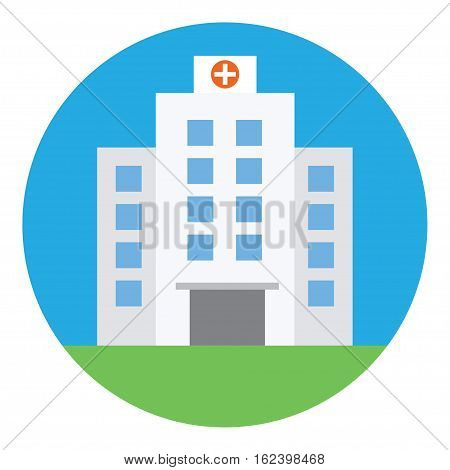 Hospital building, medical icon. Flat design vector illustration