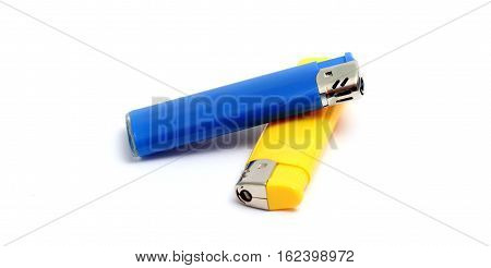 Blue And Yellow Lighters Isolated On The White Background