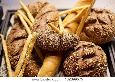 Brown Healthy Whole grain bread with breadsticks