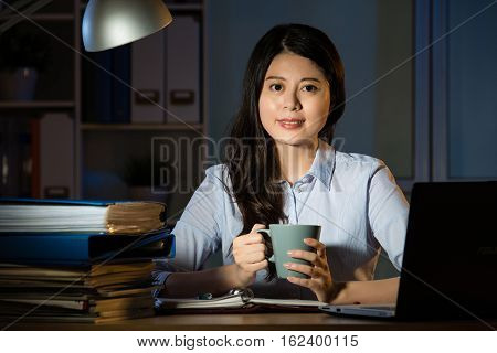 Asian Business Woman Drink Coffee Working Overtime Late Night