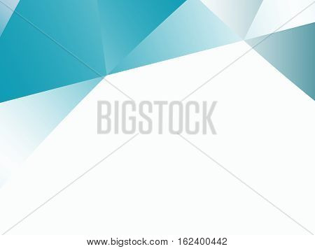 Abstract fractal background with irregular triangles pattern in teal and white gradients. Text space. For business office industry technology and computer based designs pamphlets PC background.
