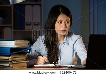 Asian Business Woman Working Overtime Late Night In Office