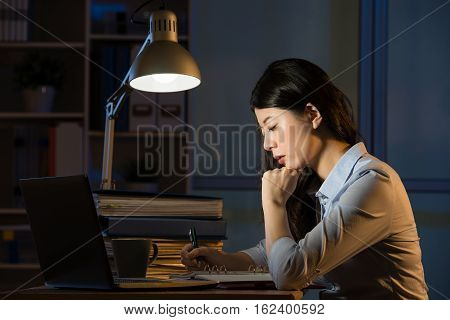 Asian Business Woman Use Laptop Working Overtime Late Night