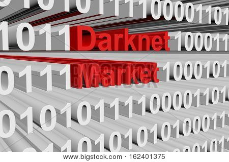 Darknet market in the form of binary code, 3D illustration