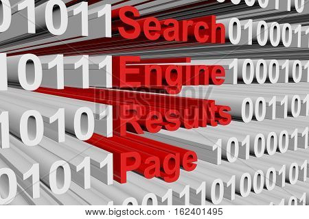Search engine results page in the form of binary code, 3D illustration