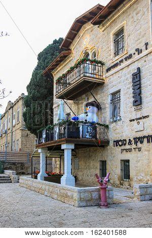 Haifa Israel - December 17 2016 : Holiday decorations street for Christmas in the German Colony in Haifa Israel