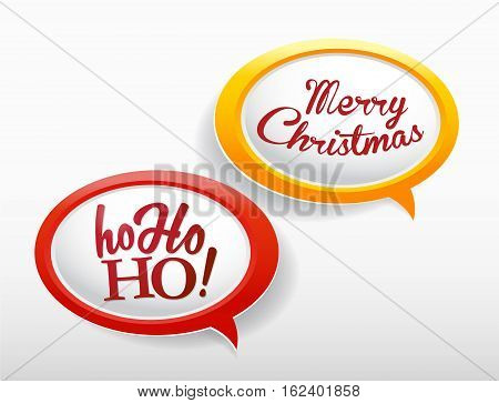 Set of speech bubbles with Ho ho ho and Merry Christmas text.