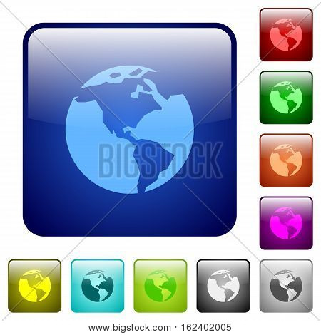Earth icons in rounded square color glossy button set