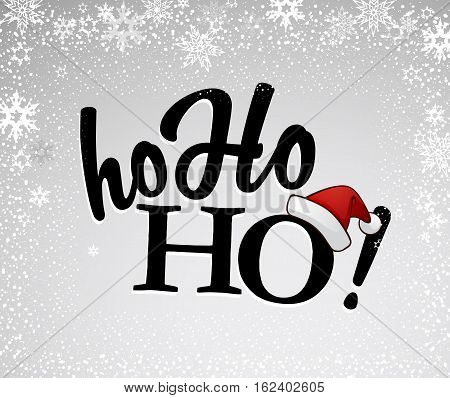 Black Ho-ho-ho! text with Santa's red hat on silver background and many snow flakes.