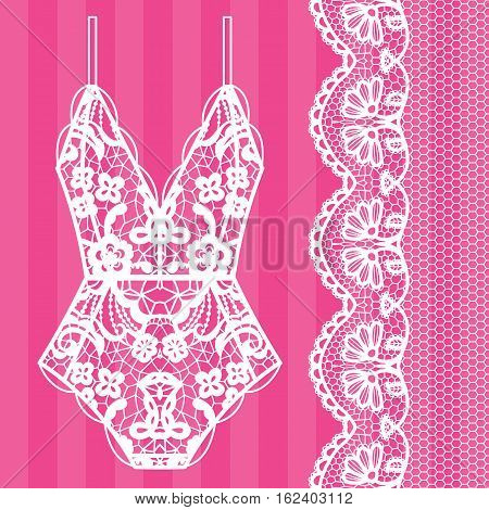 Body. Lingerie. Lacy beautiful body Vector illustration