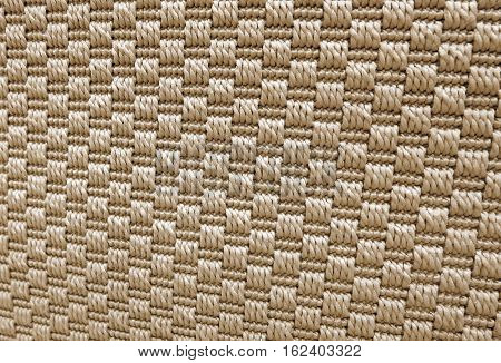 Textile Texture Close Up of Brown Weaving Fabric Pattern Background with Copy Space for Text Decoration.